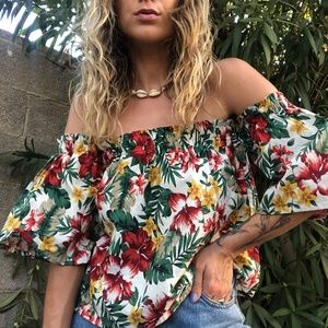 Tops - Colorful Tropical Print Off The Shoulder Top